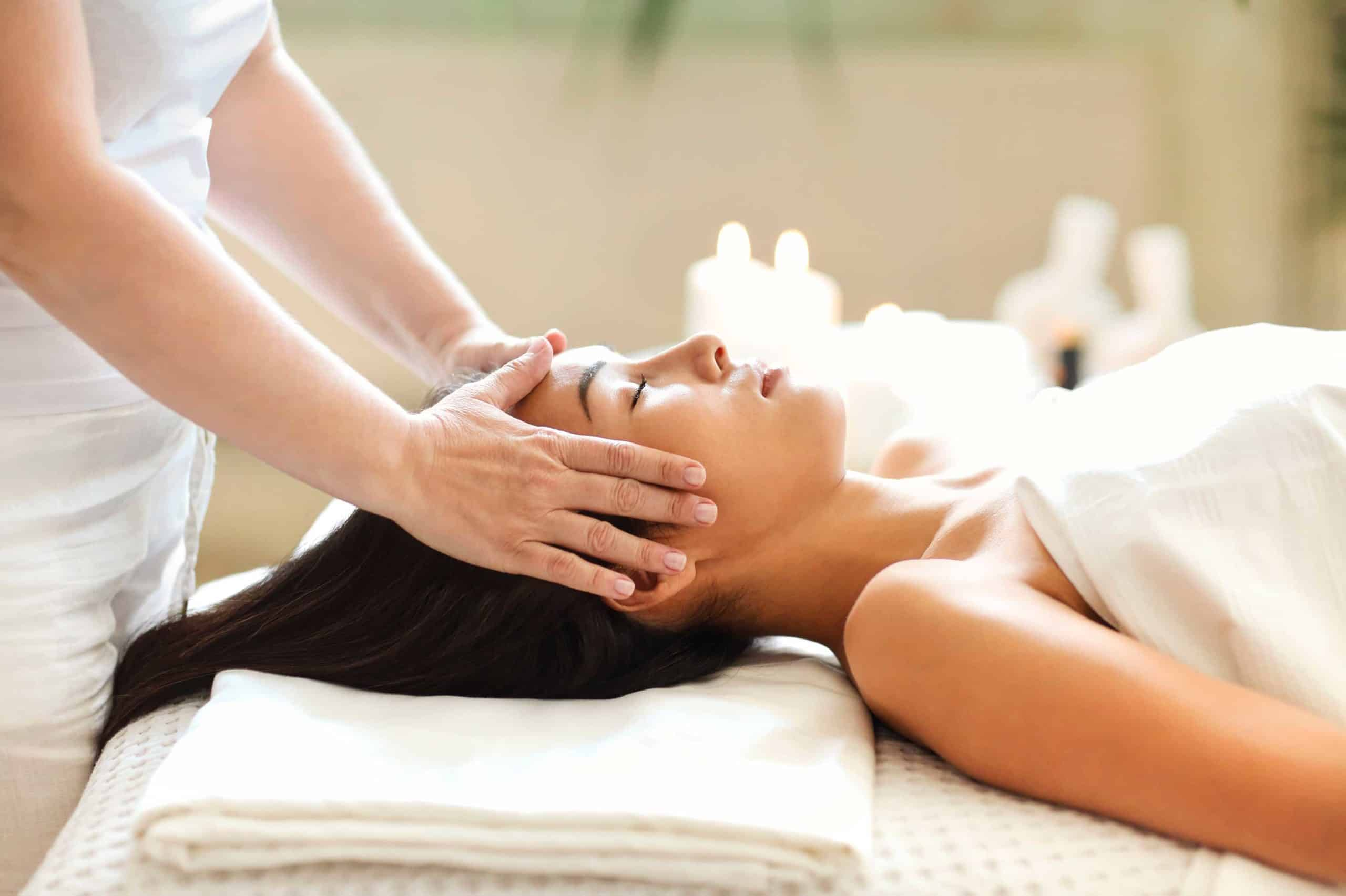 asian woman resting during spa procedure woman spa relax salon session eyes closed lying client t20 6YVzxY